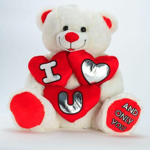 """דובי אהבה 60 ס""""מ פרוותי מחזיק 3 לבבות באנגלית"""