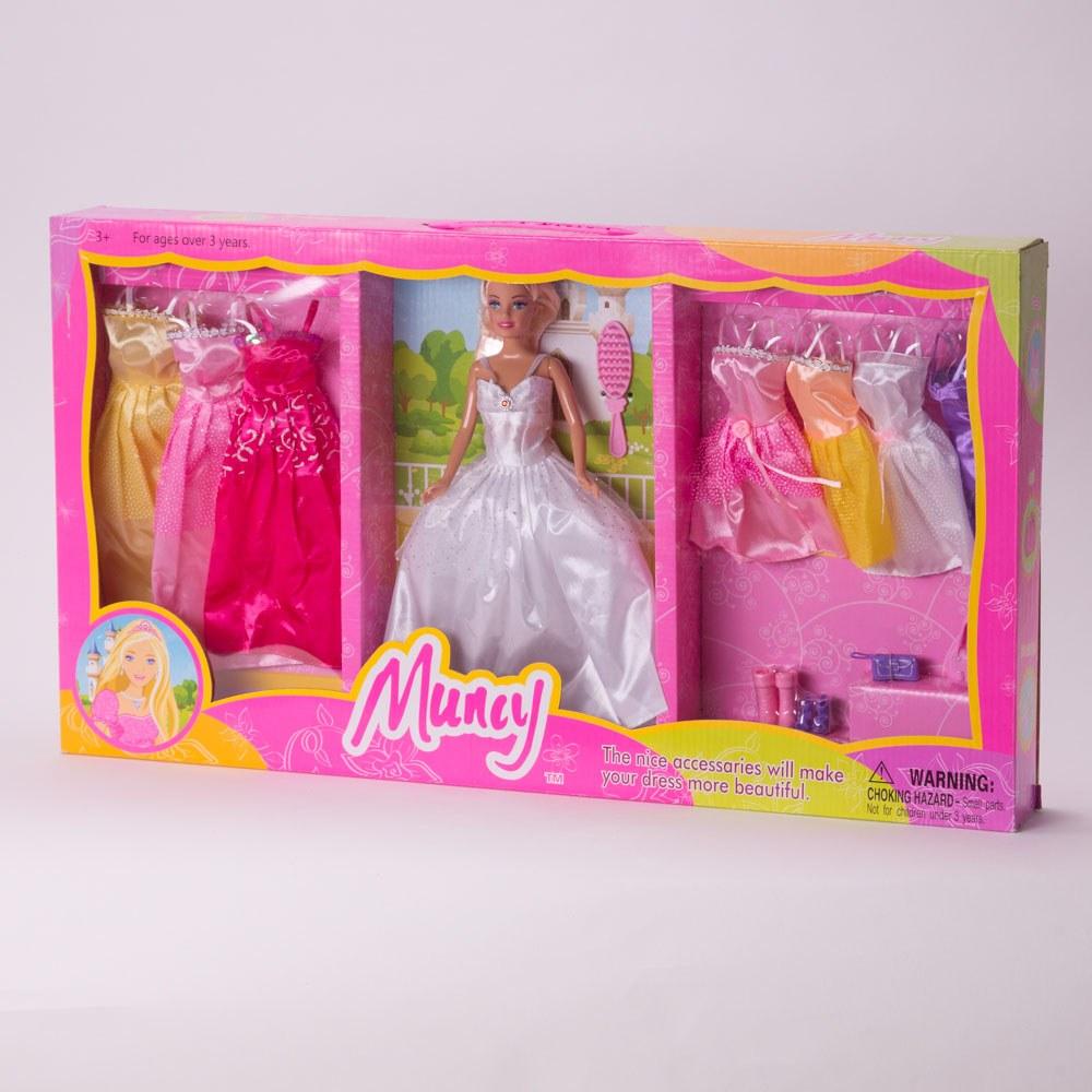 בובת ברבי מונסי עם 7 שמלות ואביזרים במזוודה K200063-1