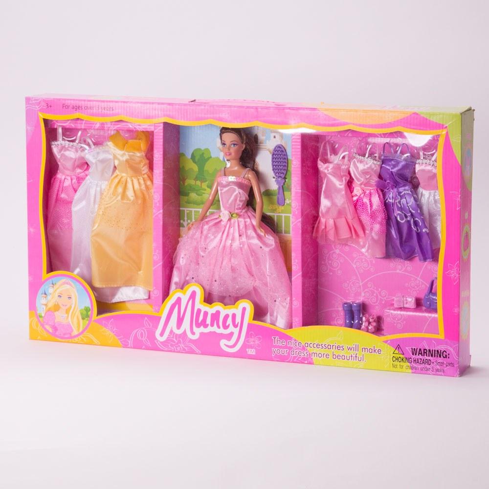 בובת ברבי מונסי עם 7 שמלות ואביזרים במזוודה K200063