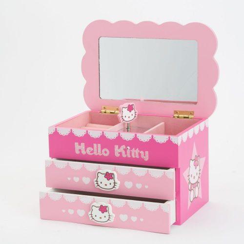 קופסת תכשיטים מנגנת עם מגירות הלו קיטי K400005-1