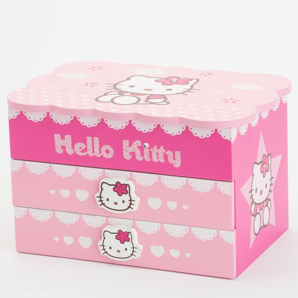 קופסת תכשיטים מנגנת עם מגירות הלו קיטי