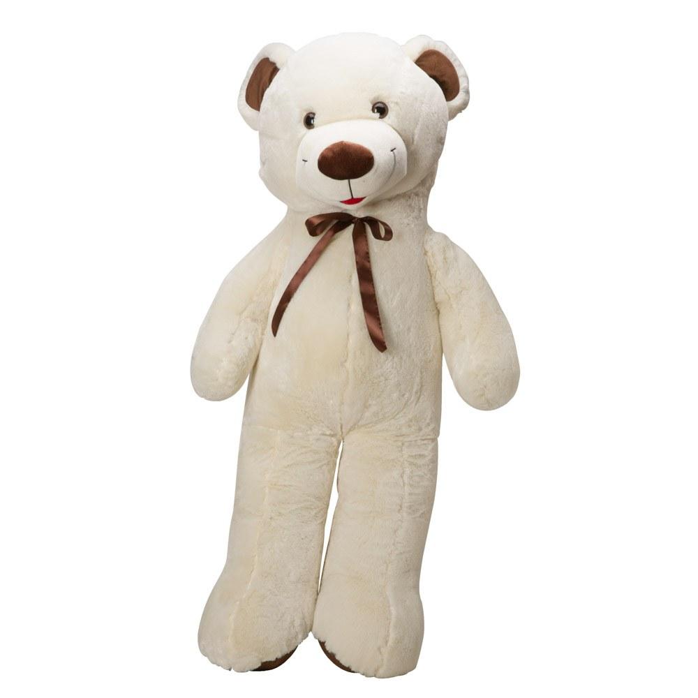 דובי ענק 2 מטר פרוותי עם פפיון חום מסטן