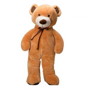 דובי ענק 2 מטר פרוותי עם פפיון חום מסטן -