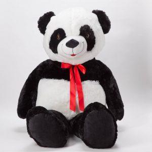 דובי ענק פנדה 2 מטר פרוותי חלק עם פפיון -