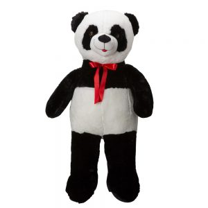 דובי ענק פנדה 2 מטר פרוותי חלק עם פפיון אדום -