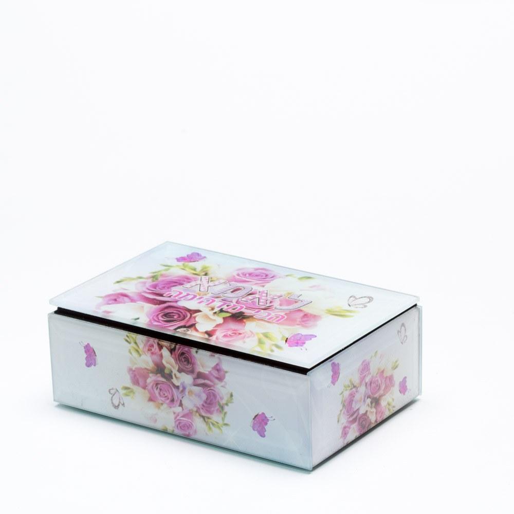קופסת תכשיטים מלבנית לאמא מזכוכית K400168