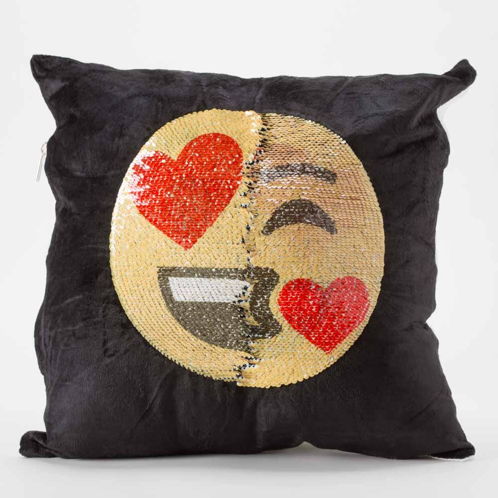 כרית הקסם 35 סמ מרובעת מוג'וס אימוג'י מאוהב ומנשק בצבע שחור עם פייטים מתהפכים