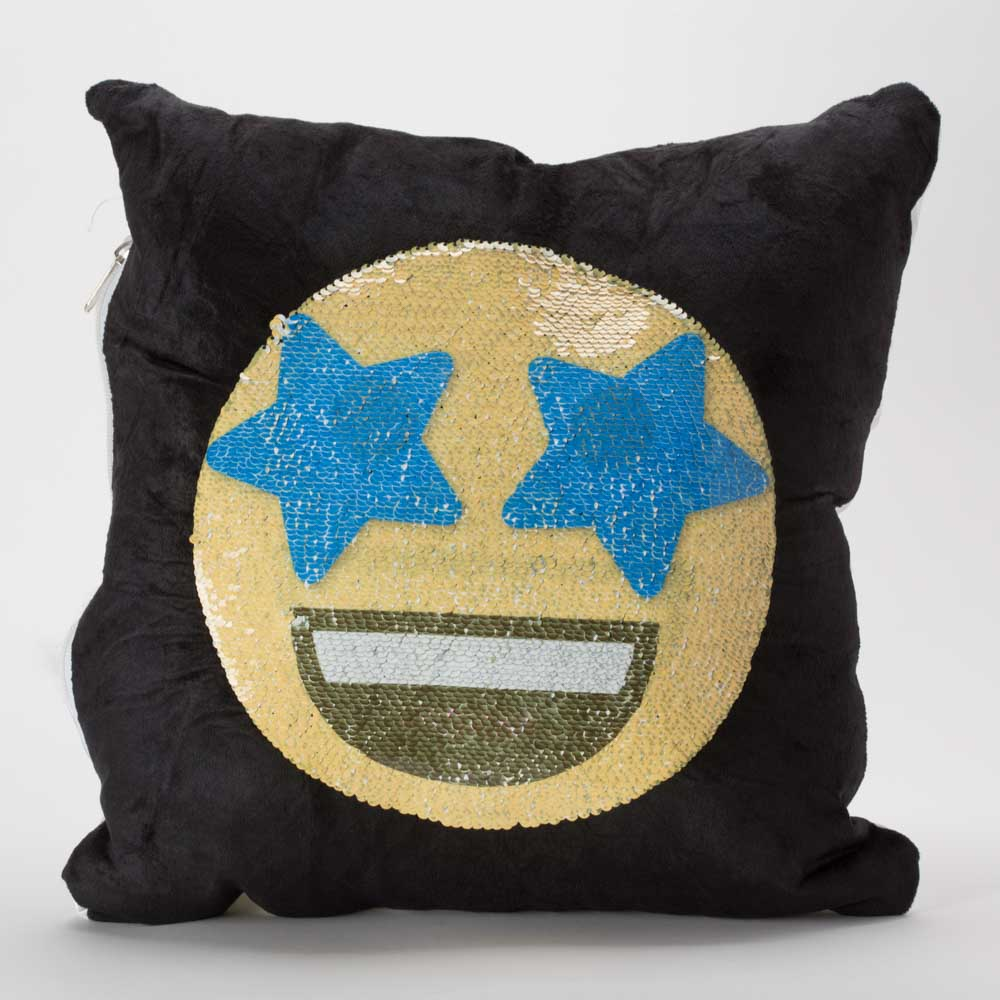 כרית הקסם 35 סמ מרובעת מוג'וס אימוג'י מחייך וכוכבים בעיניים בצבע שחור עם פייטים מתהפכים