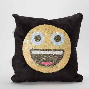 כרית הקסם 35 סמ מרובעת מוג'וס אימוג'י מחייך וכוכבים בעיניים בצבע שחור עם פייטים מתהפכים -