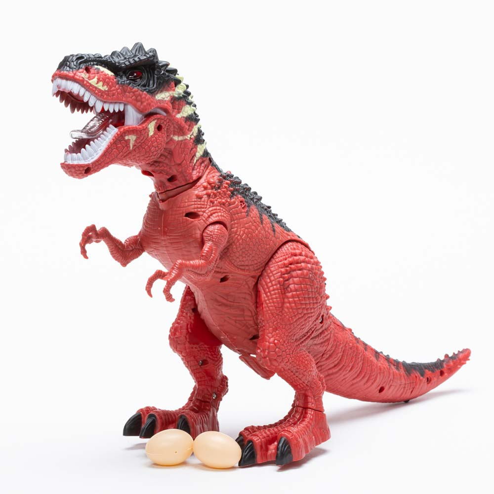 דינוזאור גדול בובת צעצוע להרכבה ולמשחק מטילה ביצים מוציאה קול ומדליקה אורות