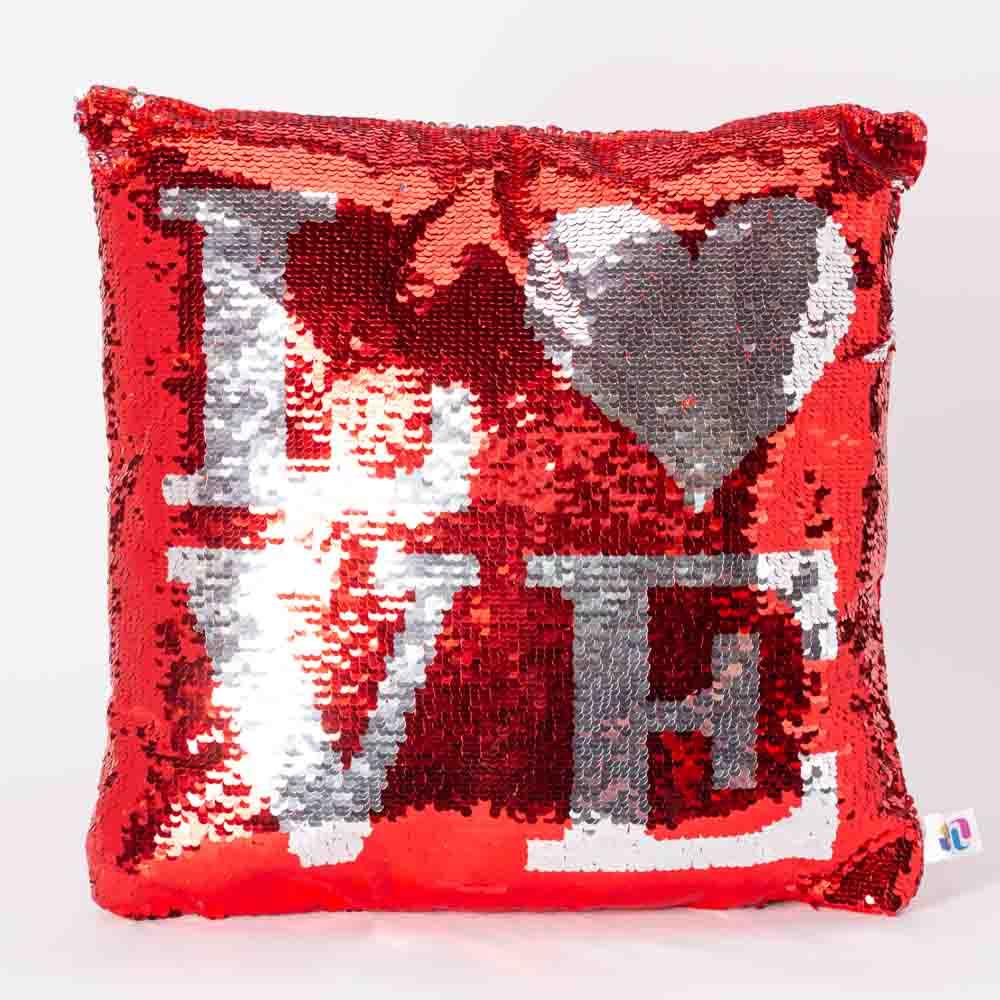 כרית הקסם 35 סמ מרובעת אהבה LOVE בצבע אדום עם פייטים מתהפכים ומתחלפים