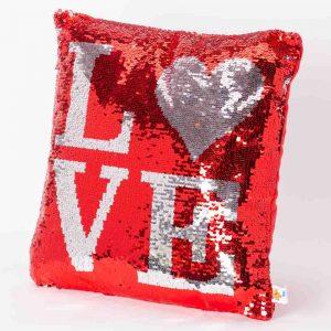 כרית הקסם 35 סמ מרובעת אהבה LOVE בצבע אדום עם פייטים מתהפכים ומתחלפים -