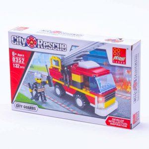משחק הרכבה לגו משאית כיבוי אש קטנה 132 חלקים -