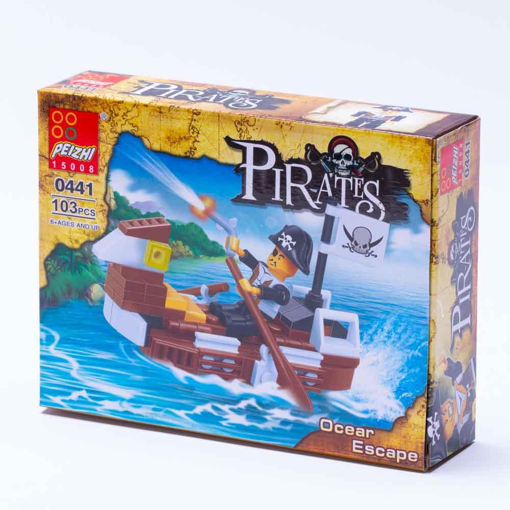 משחק הרכבה לגו ספינת פיראטים קטנה חומה 103 חלקים