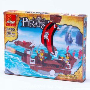 משחק הרכבה לגו ספינת פיראטים חומה 204 חלקים -