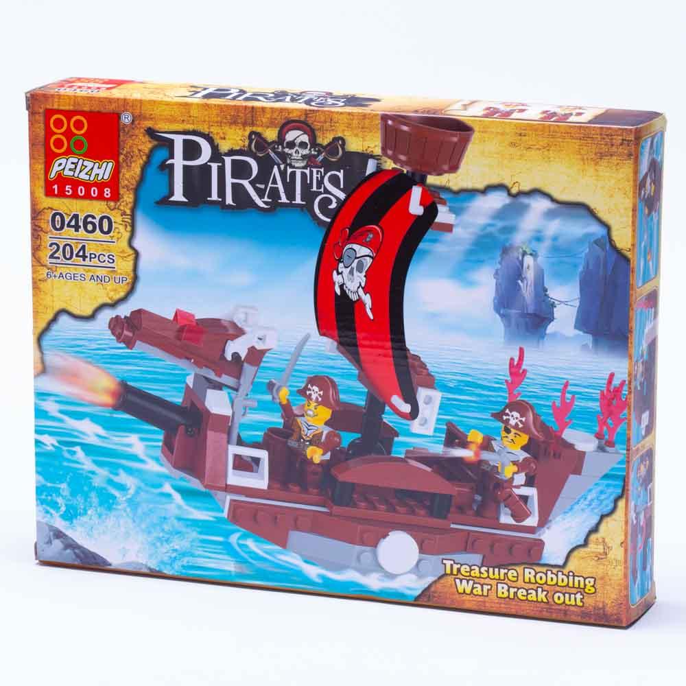 משחק הרכבה לגו ספינת פיראטים חומה 204 חלקים