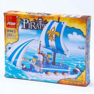 משחק הרכבה לגו ספינת פיראטים כחולה 205 חלקים -
