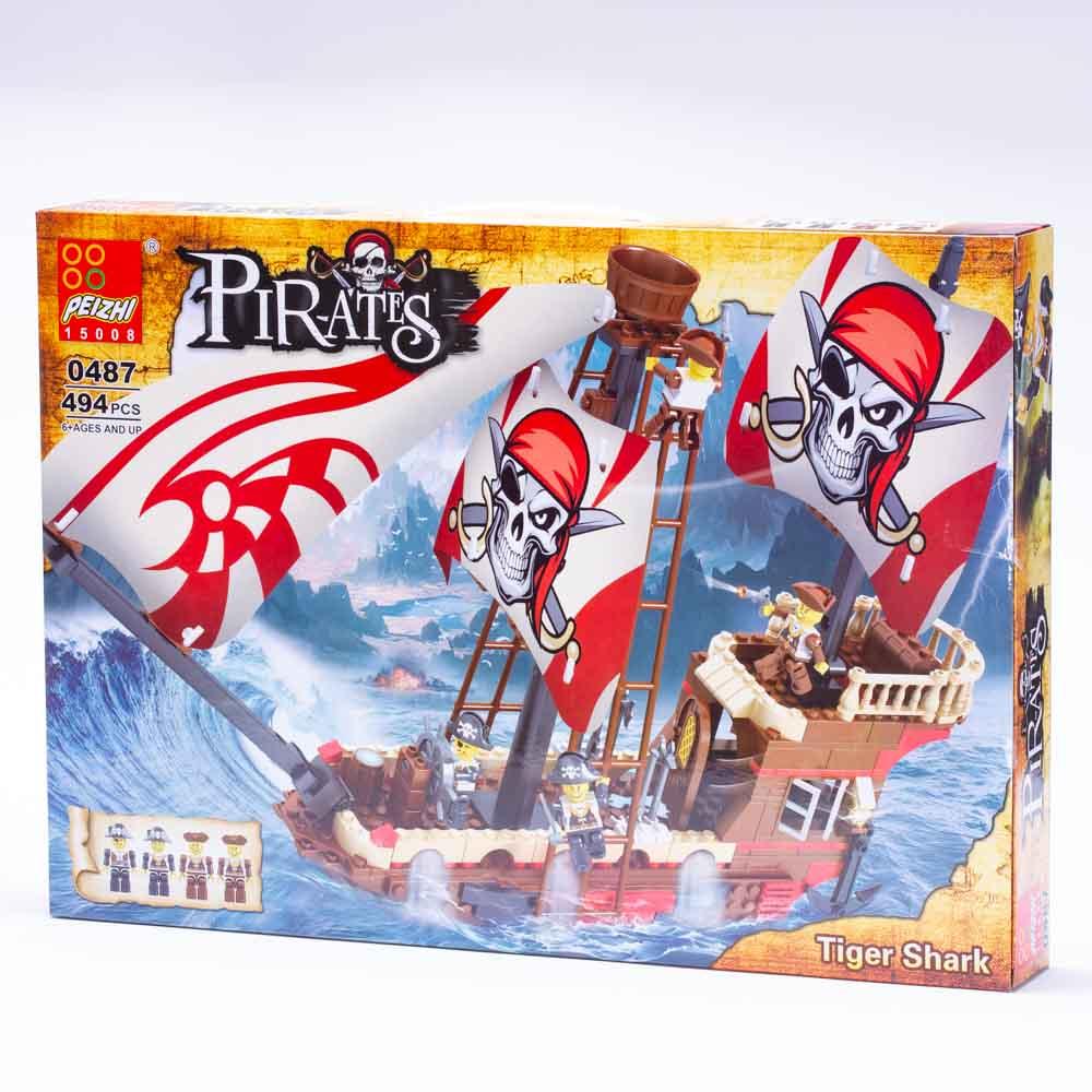 משחק הרכבה לגו ספינת פיראטים ענק 494 חלקים