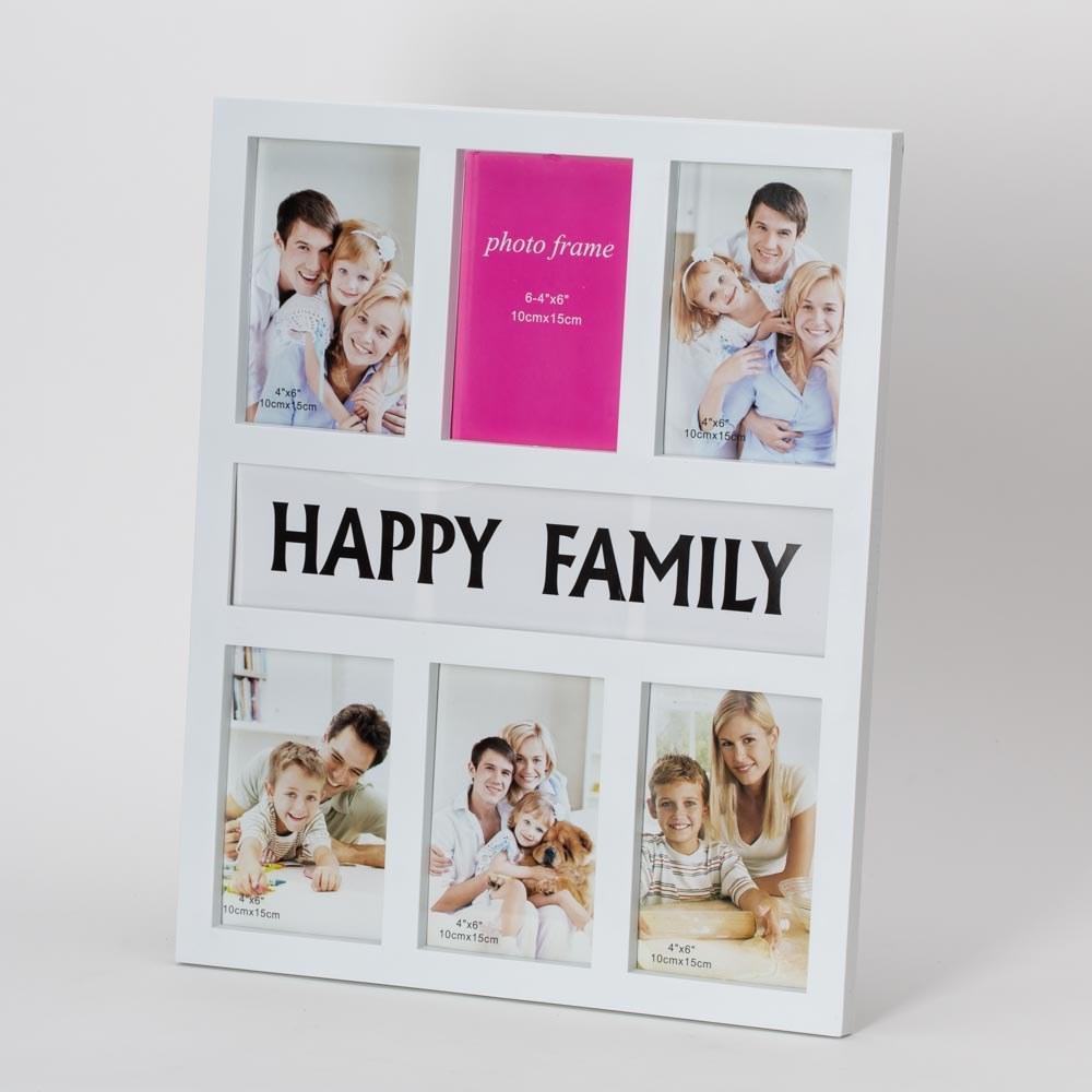 מסגרת קולאז' 6 תמונות לקיר FAMILY בצבע לבן K600061