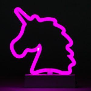 מנורת לילה לד ניאון מעוצבת חד קרן ורוד לחדרי ילדים