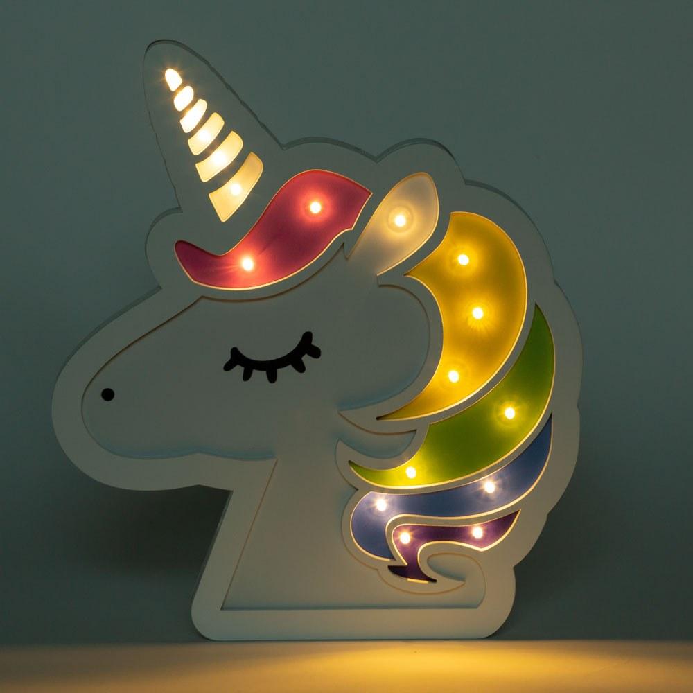מנורת לילה לד מעוצבת ראש חד קרן צבעוני לחדרי ילדים