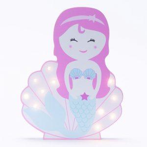 מנורת לילה לילדים מעוצבת בת הים הקטנה ורודה לד LED -