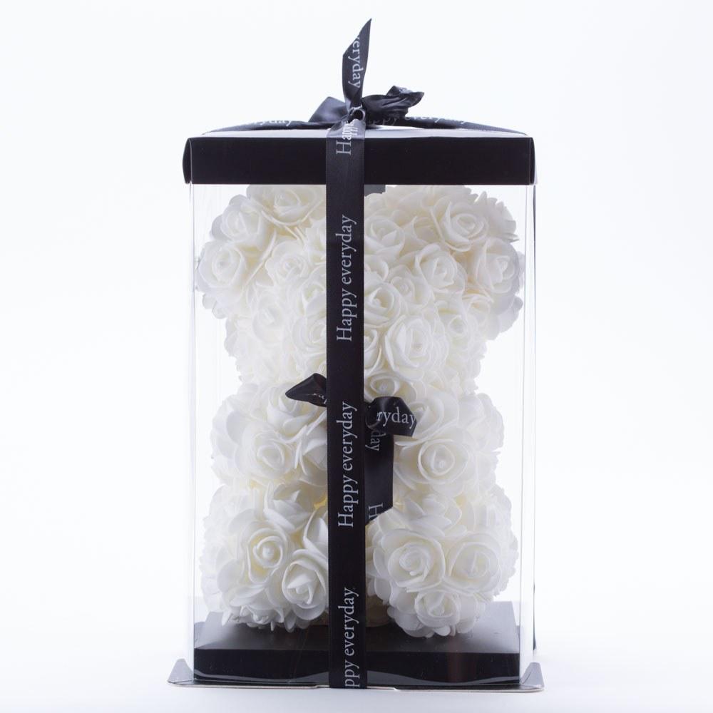 דובי פרחים בינוני בצבע לבן ופפיון בקופסת מתנה 30 סמ
