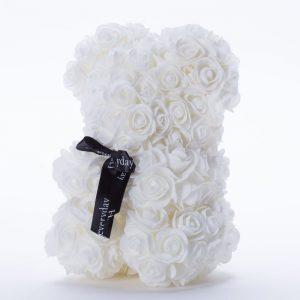 דובי פרחים בינוני בצבע לבן ופפיון בקופסת מתנה 30 סמ -