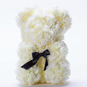 דובי פרחים בינוני בצבע שמנת ופפיון בקופסת מתנה 30 סמ -