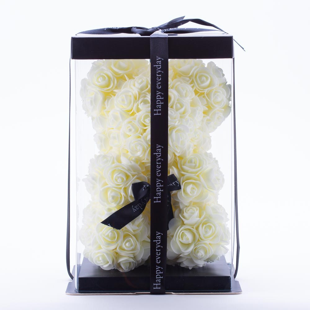 דובי פרחים בינוני בצבע שמנת ופפיון בקופסת מתנה 30 סמ