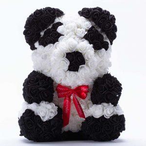 דובי פרחים גדול בעיצוב פנדה ופפיון אדום בקופסת מתנה 40 סמ -