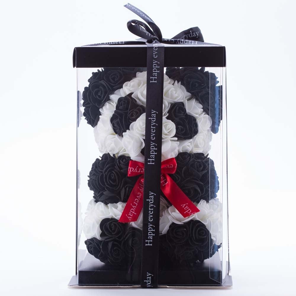 דובי פרחים גדול בעיצוב פנדה ופפיון אדום בקופסת מתנה 40 סמ