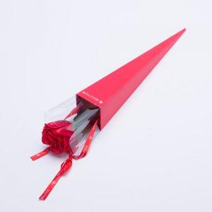 פרח סבון ריחני ורד אדום בקופסה אדומה מהודרת -