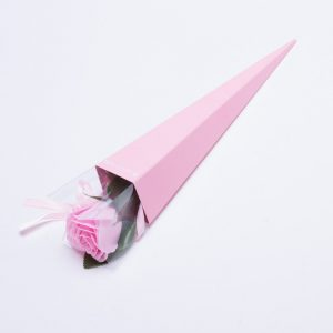 פרח סבון ריחני ורד ורוד בהיר בקופסה ורודה מהודרת -