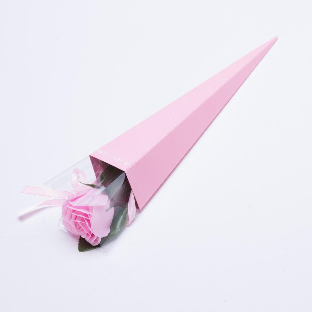 פרח סבון ריחני ורד ורוד בהיר בקופסה ורודה מהודרת