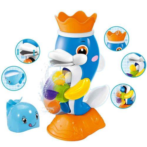 צעצוע לאמבטיה דולפינים משפריצים מים עם שבשבת צבעונית K200378-1