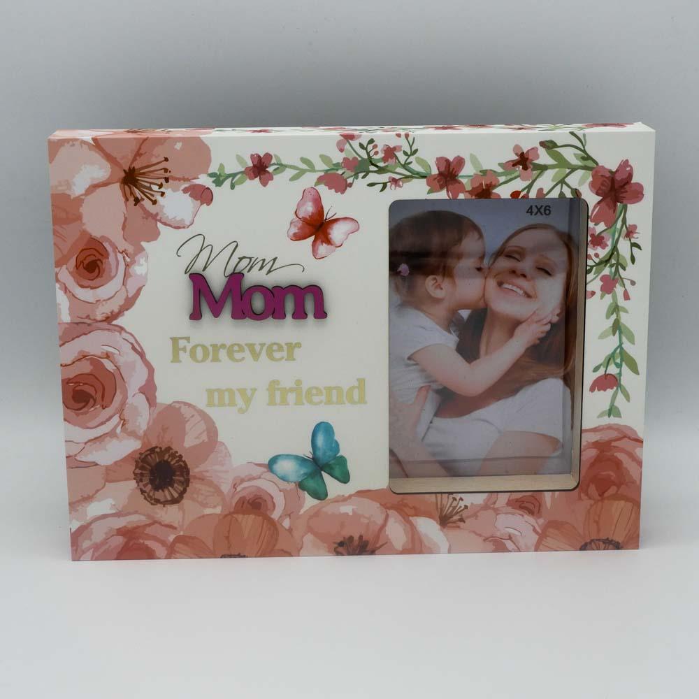 מסגרת לתמונה מעץ בעיצוב פרחוני עם הבלטה והטבעה מזהב מתנה לאמא באנגלית K400423