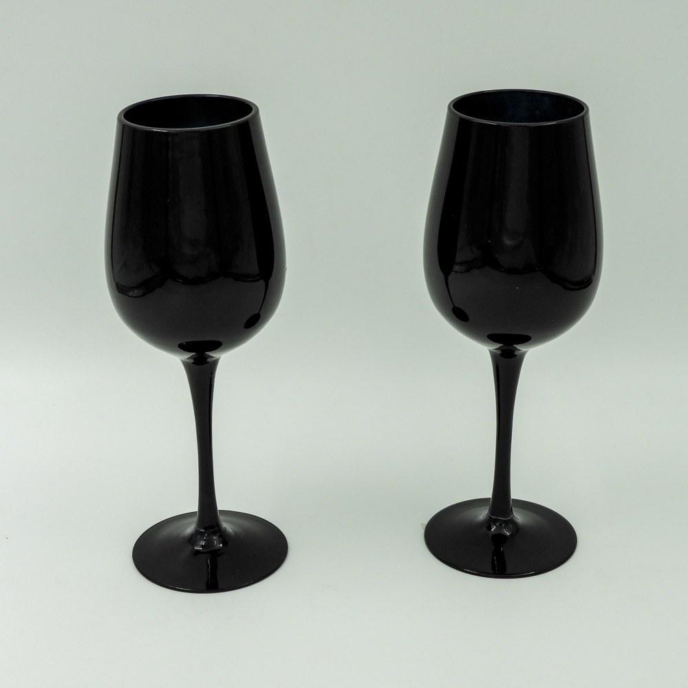 זוג כוסות יין בצבע שחור מזכוכית K600167-1