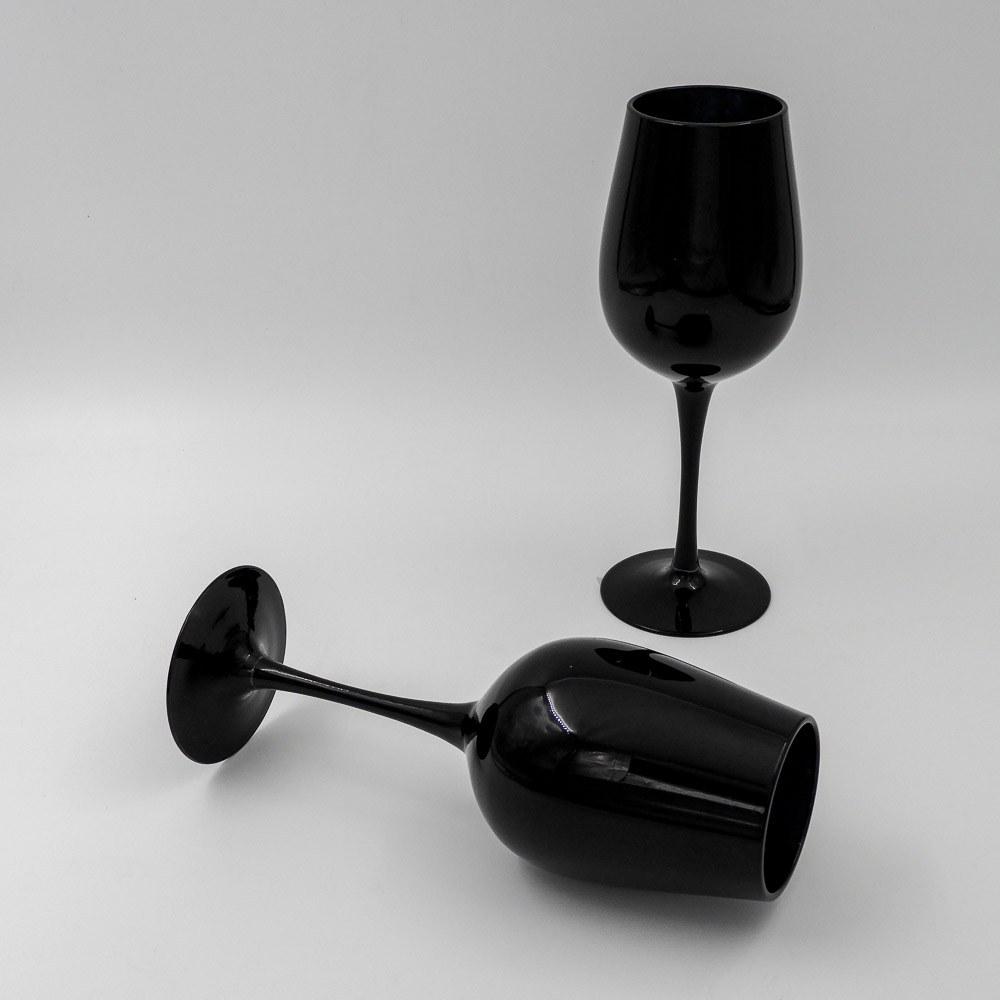 זוג כוסות יין בצבע שחור מזכוכית K600167