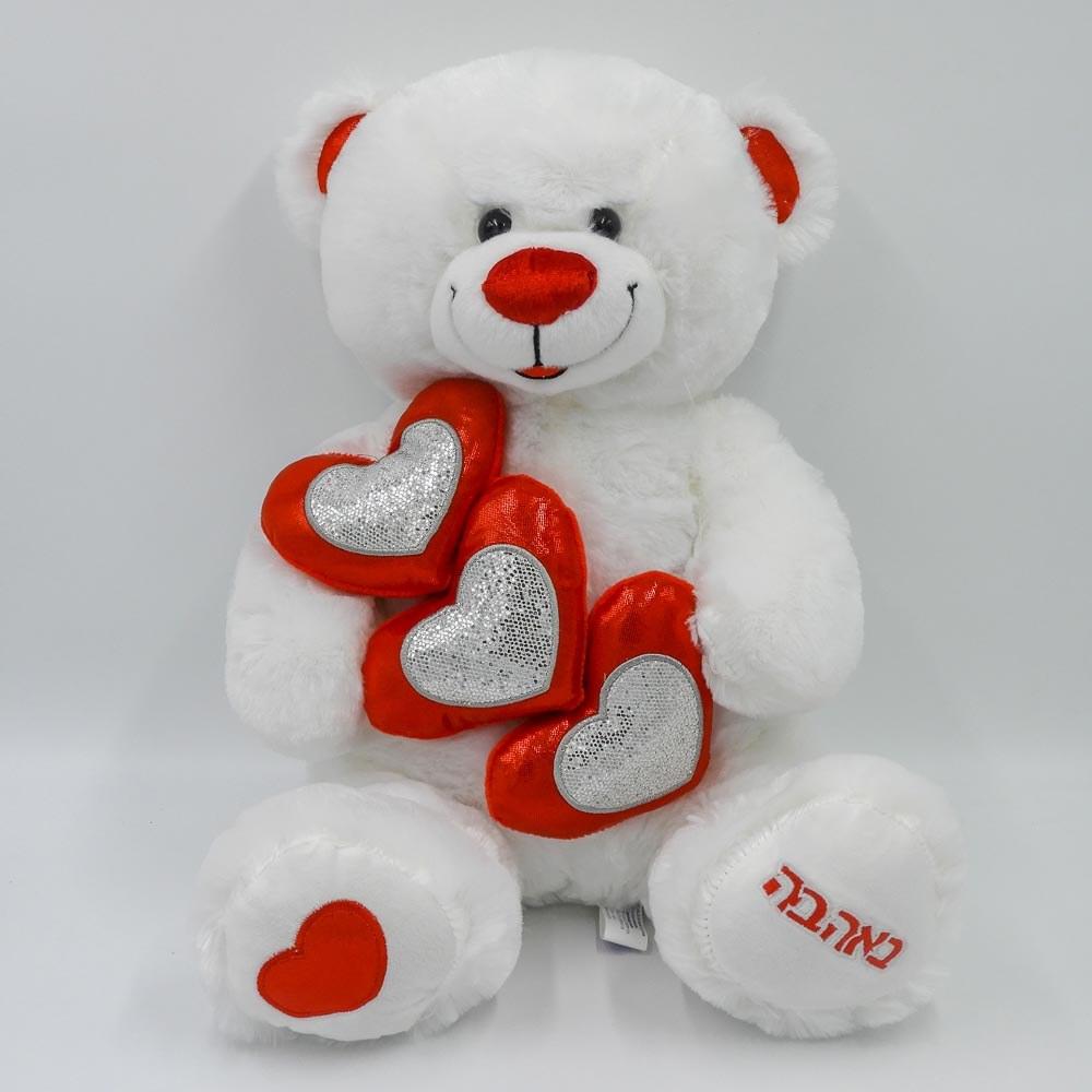 """דובי עם 3 לבבות אדומים זוהרים באהבה 40 ס""""מ K100233"""