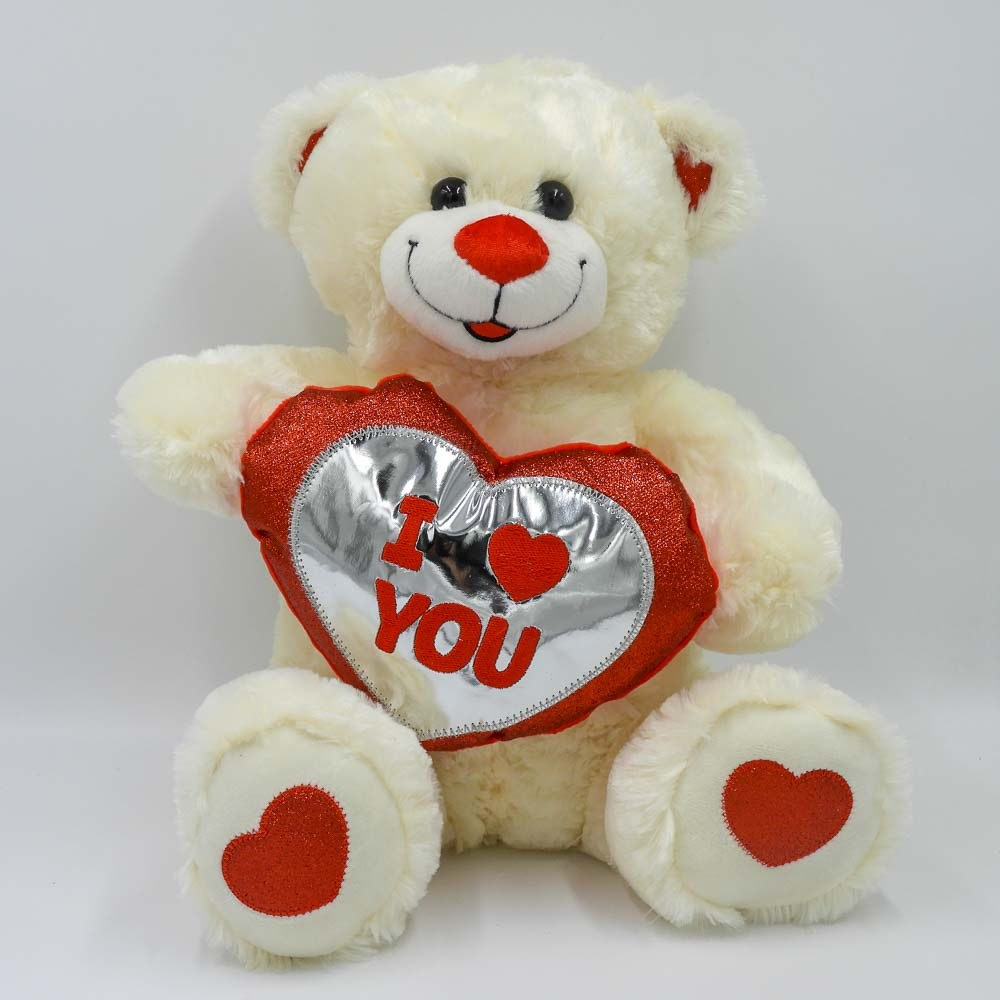 """דובי עם לב אדום זוהר בצבע שמנת 40 ס""""מ I LOVE YOU K100239"""