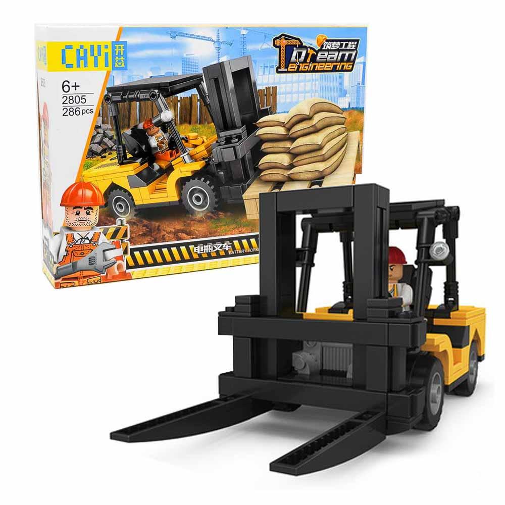 משחק הרכבה לגו הנדסה מלגזה 286 חלקים עם בובות לגו מהנדס בניה K200567