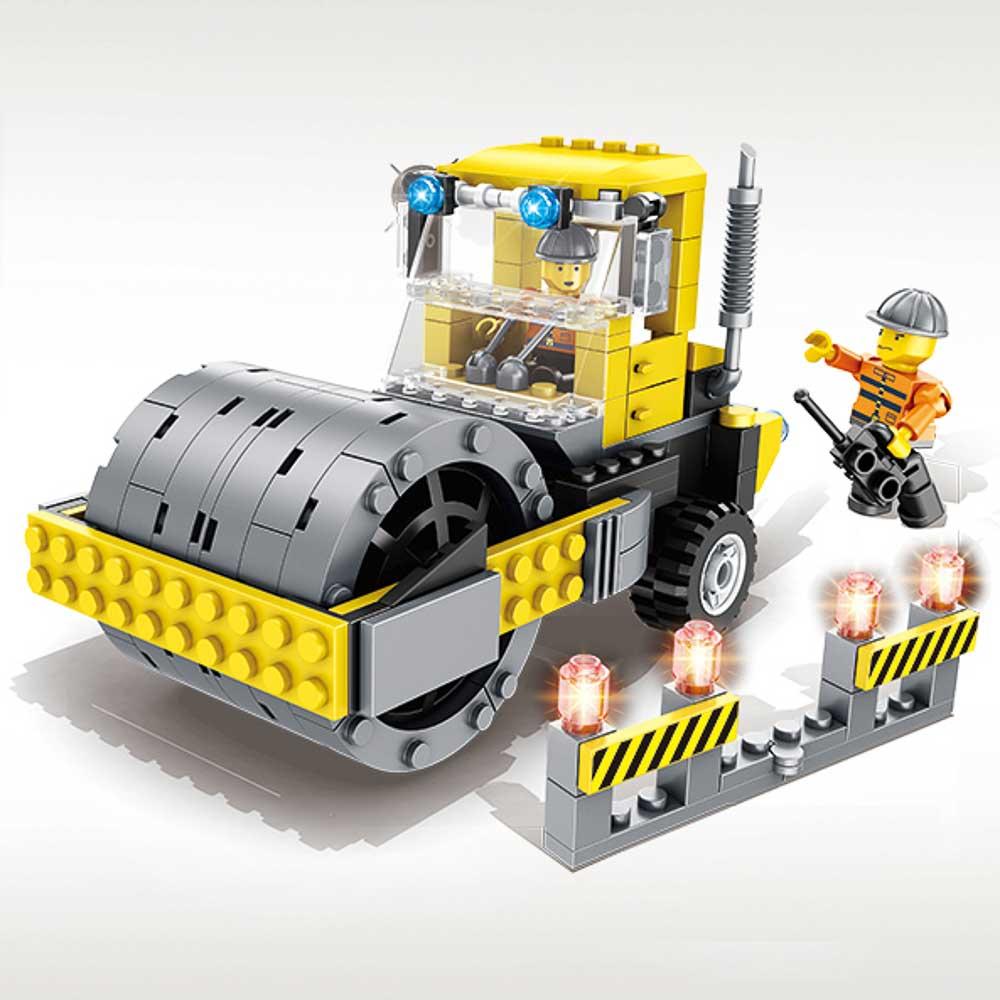 משחק הרכבה לגו טרקטור צהוב 212 חלקים עם בובות לגו של מהנדסים K200604-1