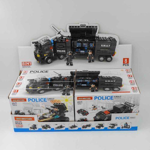 באנדל משחק הרכבה לגו משטרה ענק 618 חלקים 8 קופסאות להרכבת ניידת משטרה ענקית K200470-2