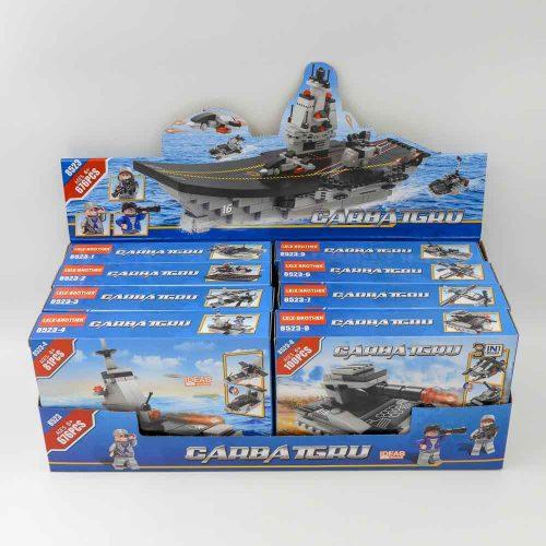 באנדל משחק הרכבה לגו כלי מלחמה ענק 676 חלקים 8 קופסאות להרכבת ספינת מלחמה ענקית K200471-2