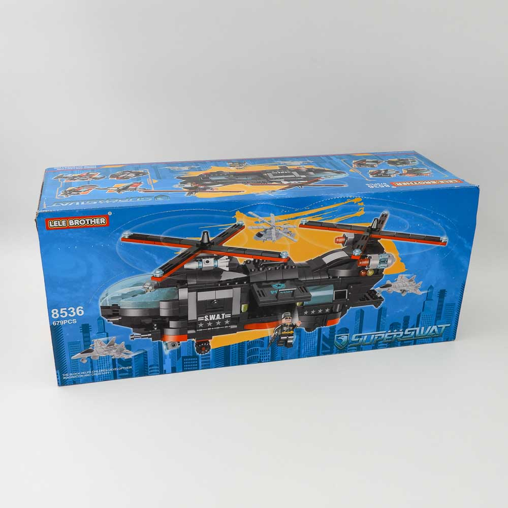 באנדל משחק הרכבה לגו יחידה מובחרת ענק 679 חלקים 8 קופסאות להרכבת מסוק מלחמה ענק K200473