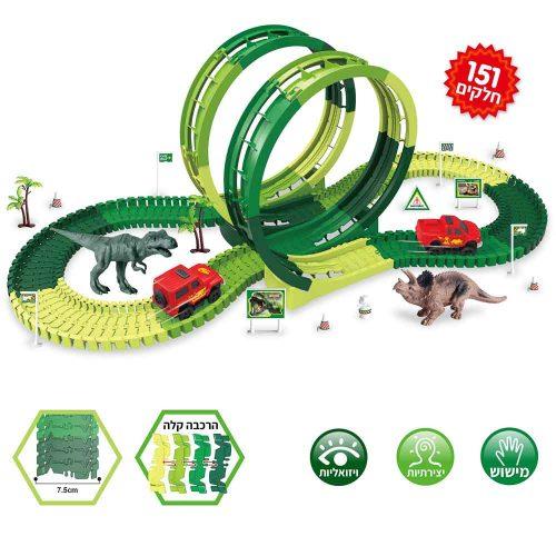 מסלול מכוניות מרוץ לילדים 3.75 מטר עם דינוזאורים K200436