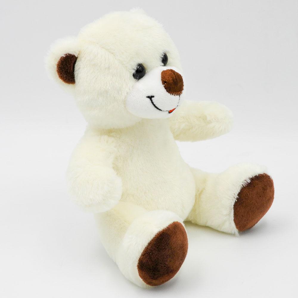 """דובי קטן חום או שמנת 20 ס""""מ חלק צד שמאל צבע קרם"""