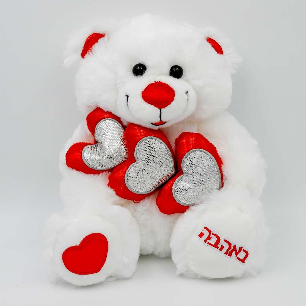 """דובי אהבה 29 ס""""מ עם 3 לבבות אדומים וזוהרים K100292"""